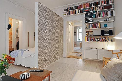 Slaapkamer in woonkamer