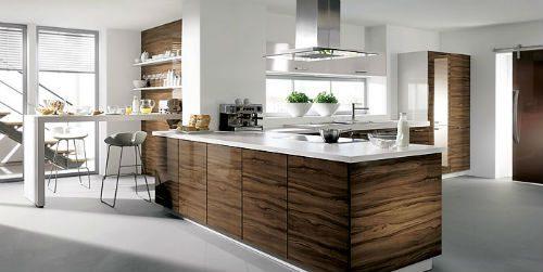 Moderne schijnhouten keuken