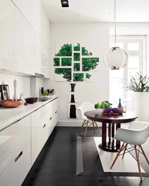 Moderne witte keuken met donkere vloer interieur inrichting - Keuken witte tafel ...