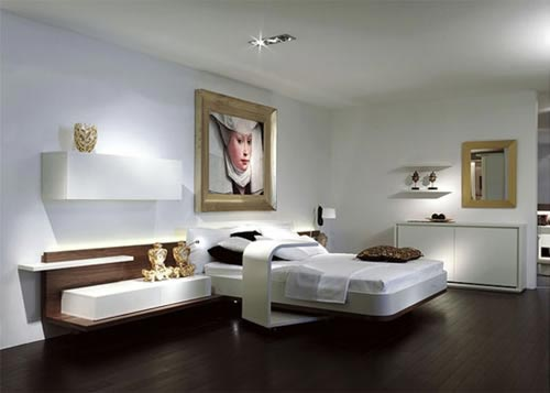 Interieur ideeen woonkamer donkere vloer : Slaapkamer met luxe meubels ...