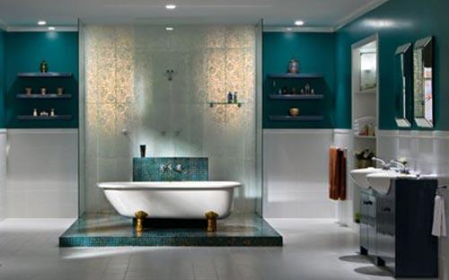 Turquoise badkamerinterieur inrichting interieur inrichting - Badkamer turkoois ...