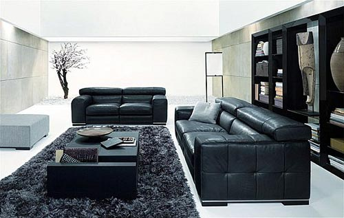 Grote moderne zwart witte woonkamer