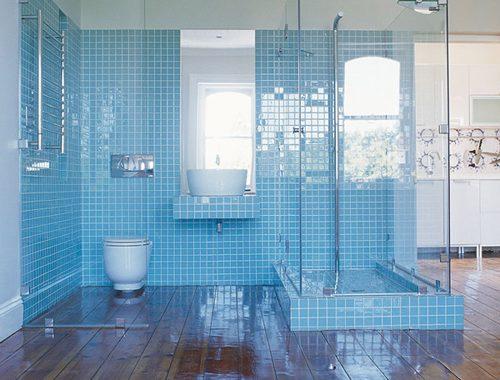 Licht blauwe badkamer met veel glas