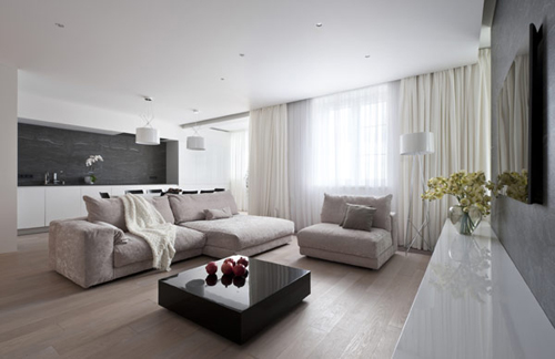 Sobere woonkamer door allexandra fedorova interieur inrichting - Interieur inrichting moderne woonkamer ...