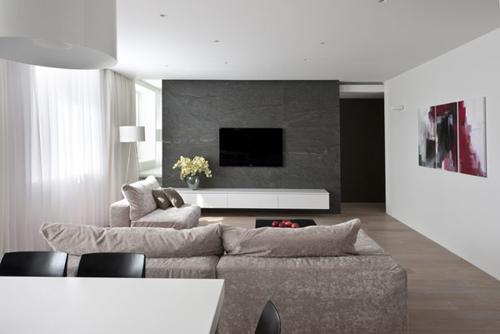 Sobere woonkamer door allexandra fedorova interieur inrichting - Kleur gevel eigentijds huis ...