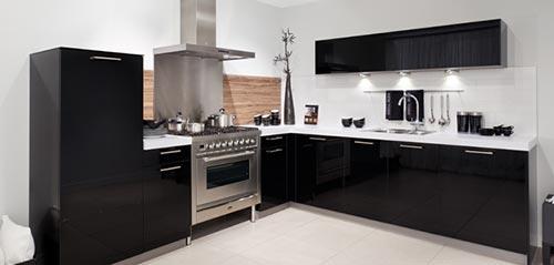 Zwarte Keuken Houten Vloer : Zwart witte Brugman L-vormige keuken Interieur inrichting