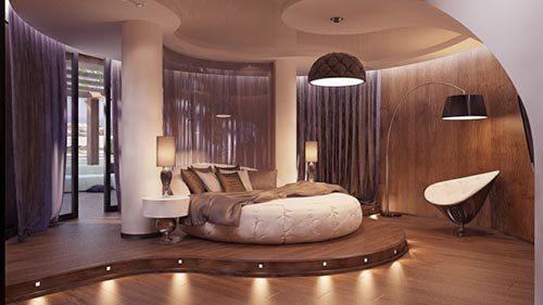Luxe slaapkamer met ronde vormen