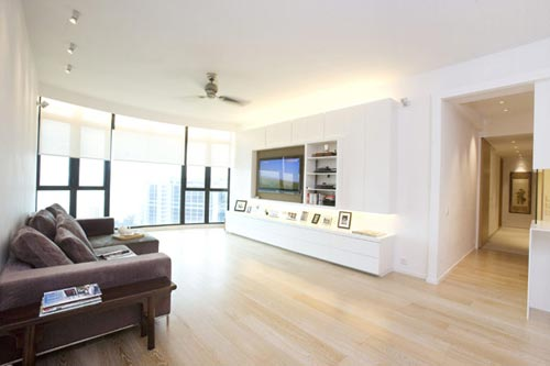 Moderne woonkamer in hong kong interieur inrichting - Moderne appartement decoratie ...