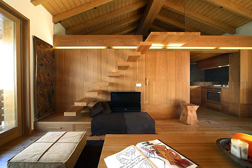 Houten interieur inrichting in Zwitserland
