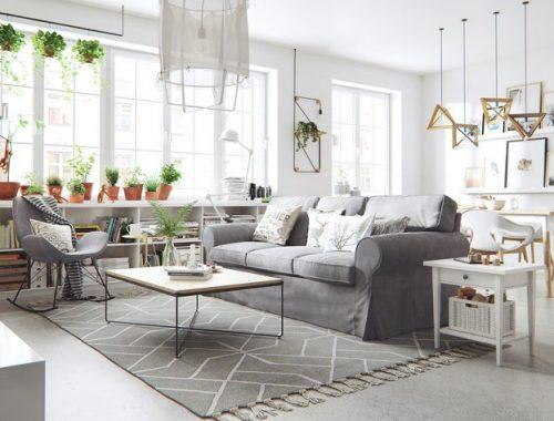 3d-ontwerpen van lichte Scandinavische woonkamer