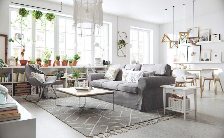 3d-ontwerpen van lichte Scandinavische woonkamer | Interieur inrichting