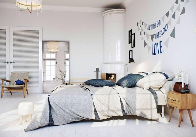 3d-ontwerpen van een Scandinavische slaapkamer | Interieur inrichting