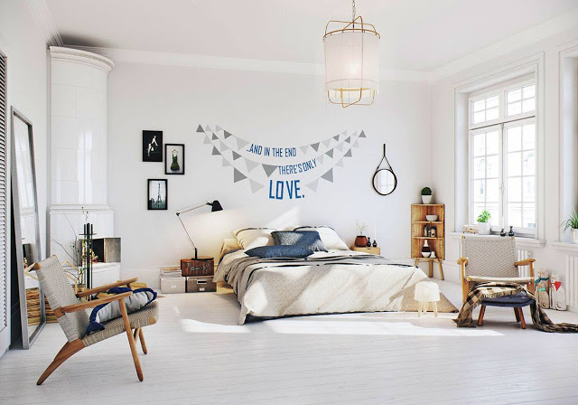 3d-ontwerpen van een Scandinavische slaapkamer