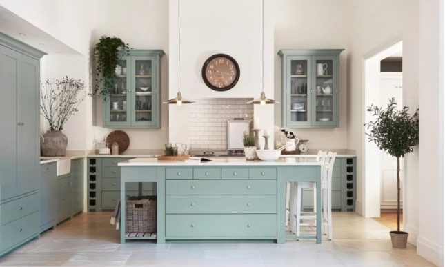 aqua blauwe keuken