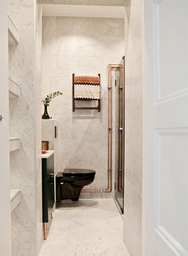 Badkamer Met Marmer Zwart En Koper Interieur Inrichting