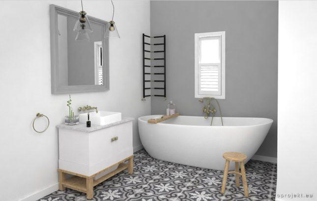 Badkamer met patroontegels en gestucte wanden  Interieur inrichting