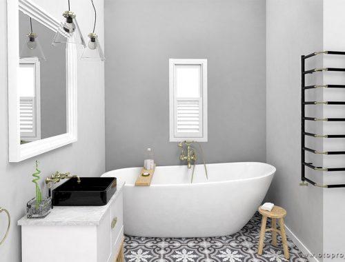 Badkamer met patroontegels en gestucte wanden
