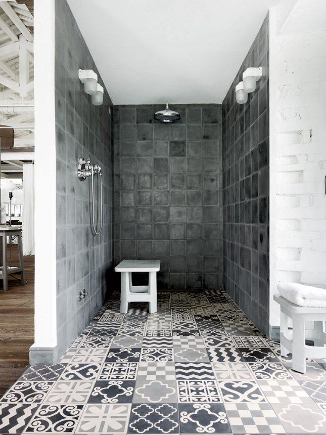 badkamers voorbeelden met inloopdouche patchwork tegels
