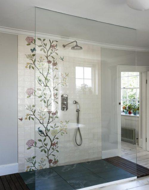 badkamers voorbeelden met inloopdouche met twee openingen