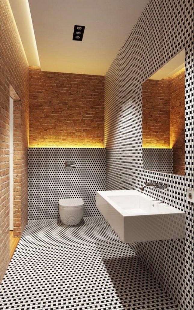 Badkamers voorbeelden mozaïek tegels bakstenen