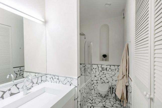 Badkamers voorbeelden mozaïek tegels natuur