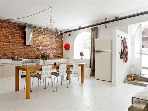 Onbewerkte Rauwe Muren : Bakstenen muur in huis interieur inrichting