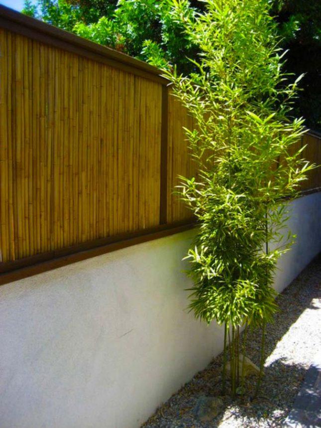 bamboe schutting op stenen muur