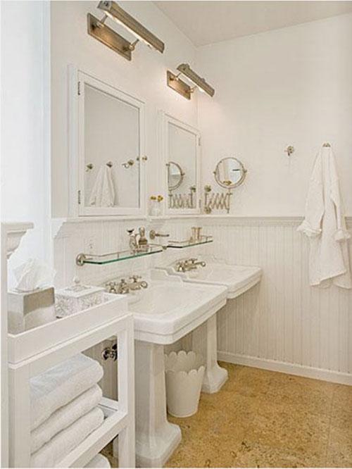Badkamer met schuifdeur van hout interieur inrichting - Gemeubleerde salle de bains ontwerp ...