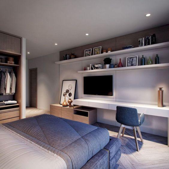 TV aan slaapkamer muur