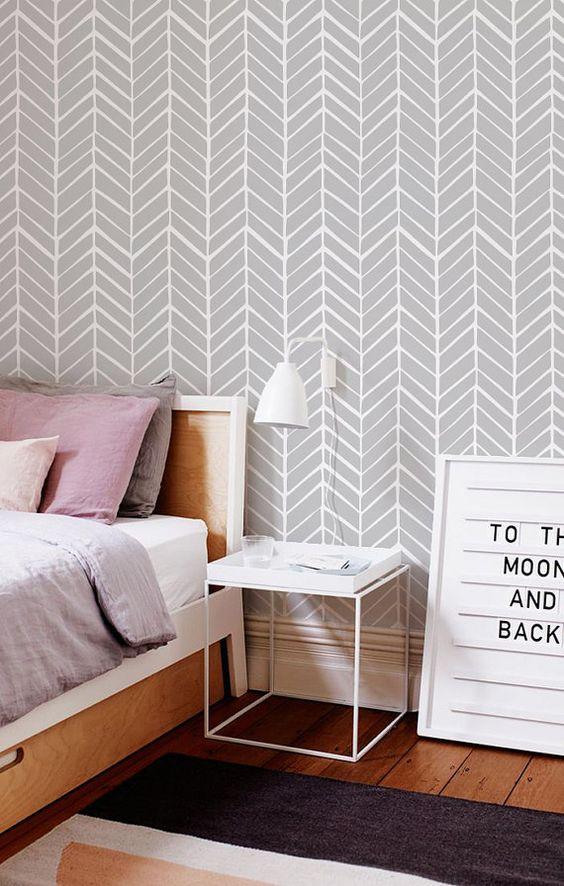 Behang met een geometrisch patroon