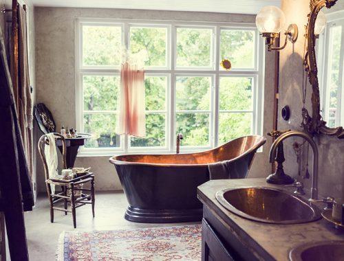 Betonstuc badkamer van Zweeds ex-model Malin