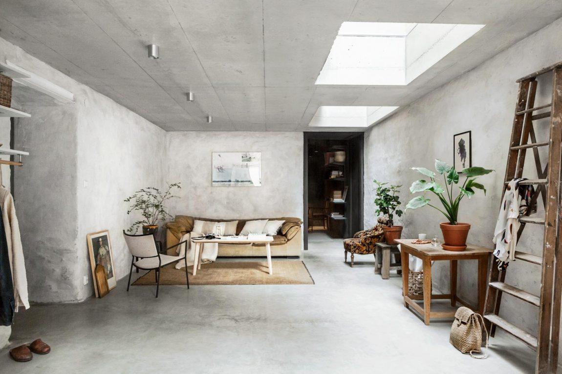 betonstuc muren interieur grijs