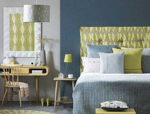 Blauw geel slaapkamer