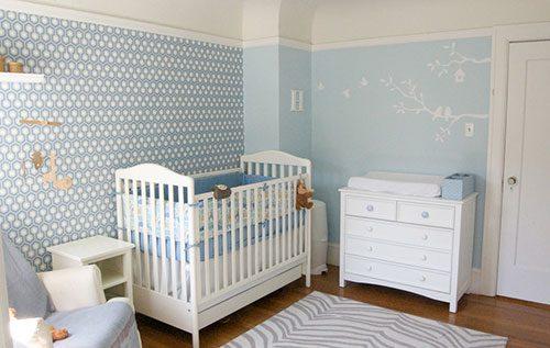 Blauwe babykamer interieur inrichting