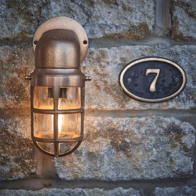 buitenlamp koperen wandlamp