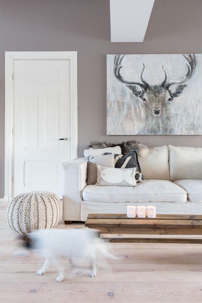 Grote schilderij in de woonkamer interieur inrichting Schilderij woonkamer