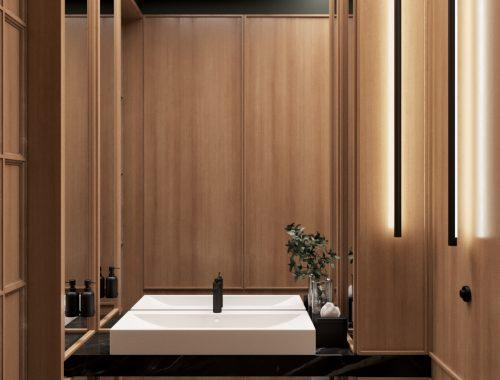 Chic toiletontwerp met houtenwandbekelding