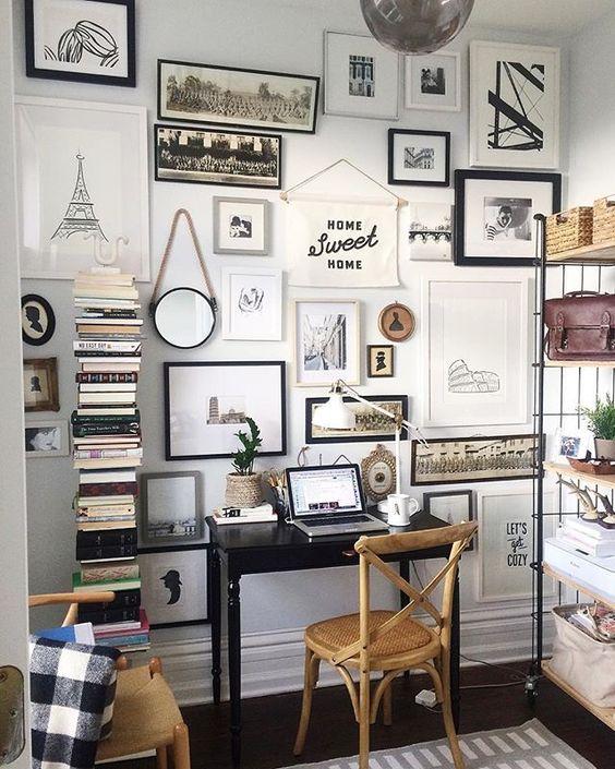 collage spiegel lijsten werkplek