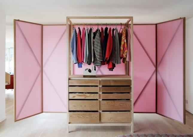 Combinatie van kledingkast en roomdivider interieur inrichting - Designer kledingkast ...