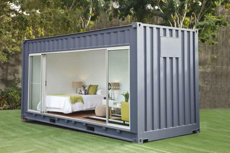 container tuinhuis met glazen schuifwand