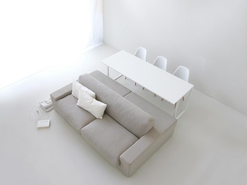 De isolagiomo bank combineert een loungebank met een eettafel bank interieur inrichting - Divano doppia seduta ...