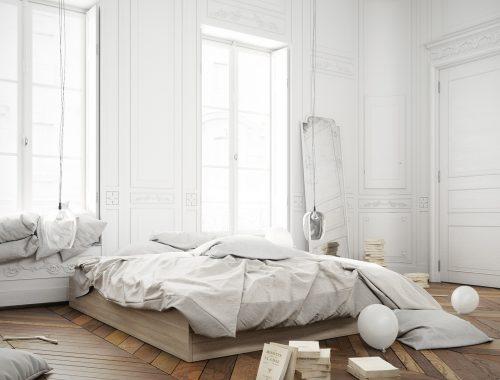 De ruimte van deze slaapkamer is zó mooi!