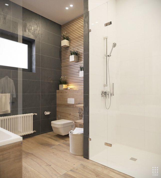 De toegang tot deze moderne badkamer ensuite is uniek!