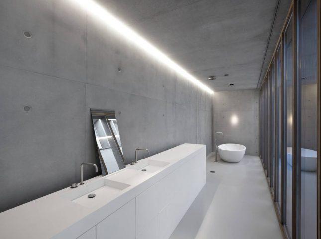 Design badkamers voorbeelden beton
