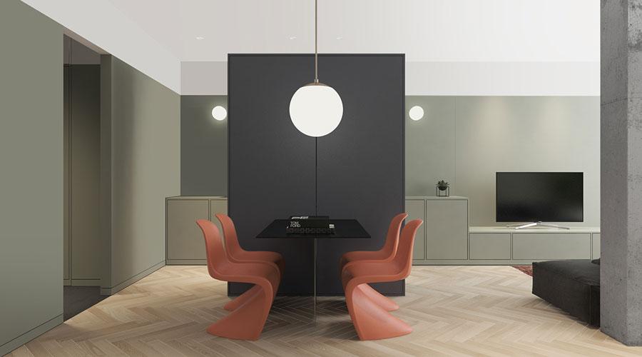 Deze mooie woonkamer, eetkamer en open keuken zijn leuk en creatief ingedeeld
