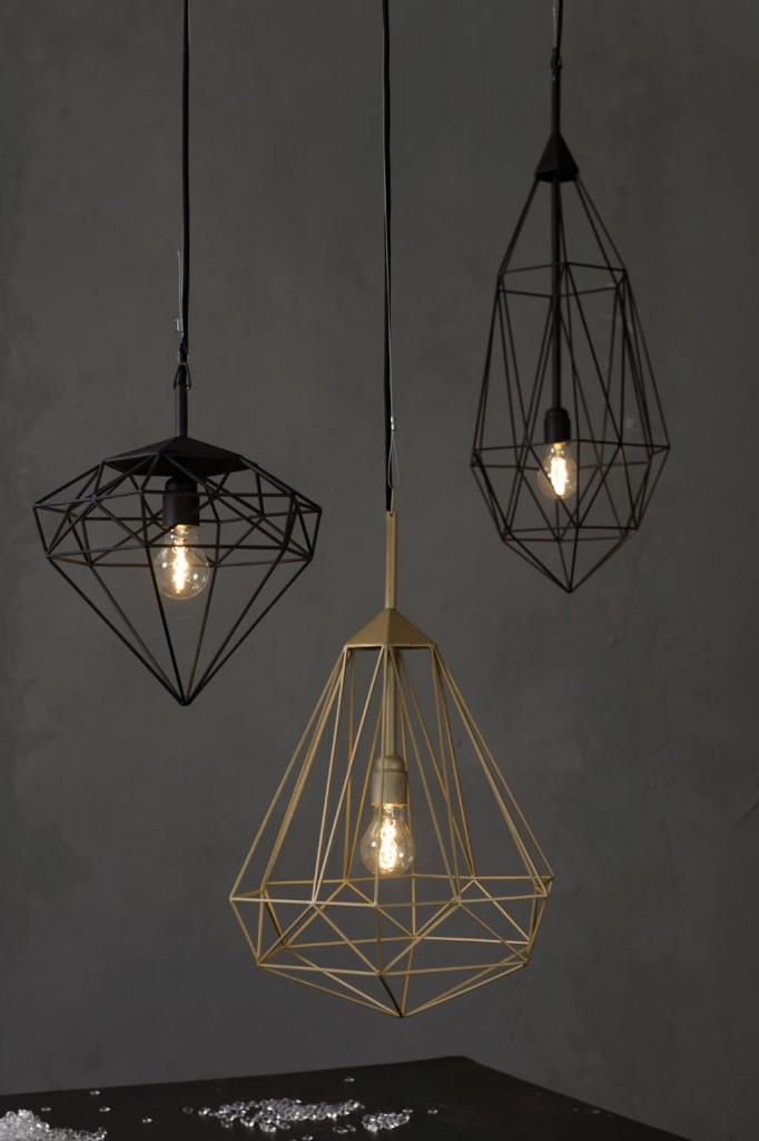 diamant vormige lampen interieur inrichting