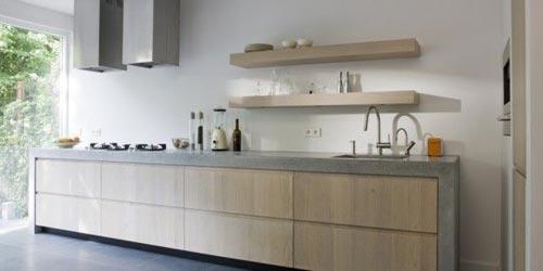 Dikke betonnen keukenblad