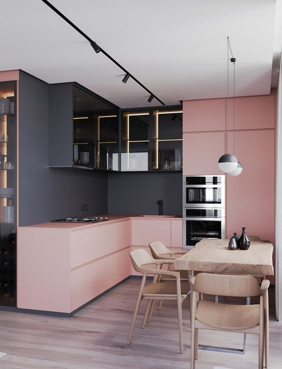 donkergrijs combineren roze interieur