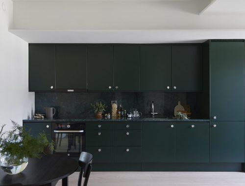Donkergroene Scandinavische keuken