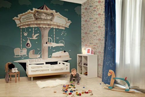 Draaimolen kinderkamer behang